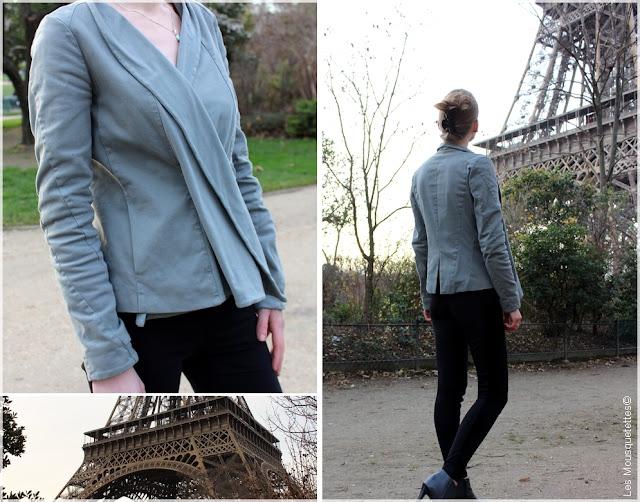 Dans le dressing des Mousquetettes© - European Culture - Vêtements femme - Veste drapée bi matière vert/bleu/gris taille S (Paris, Tour Eiffel)