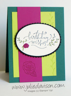 Stampin' Up! Happiest of Days Card Kit designed by Julie Davison featuring 2017-2019 In Colors & Stitched Shapes Framelits ~ www.juliedavison.com/clubs