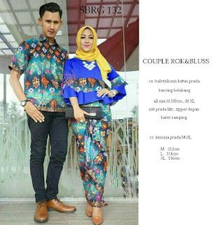 Batik Pasangan SBRG132 Couple Gamis Kebaya Modern Biru