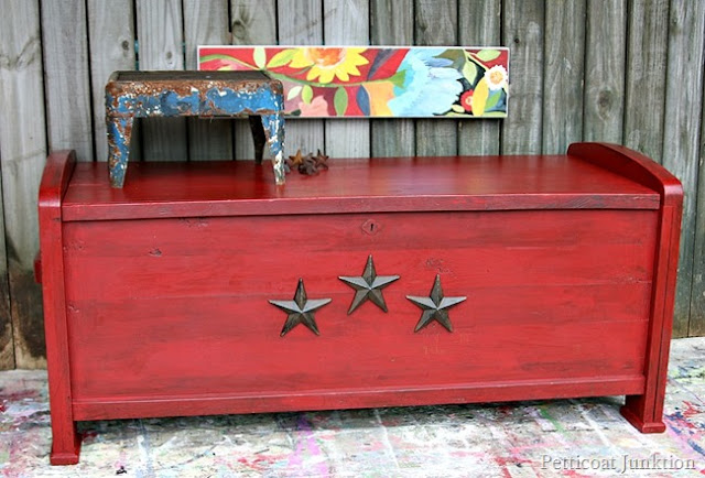 4th of july chest, red stars, painted antique chest