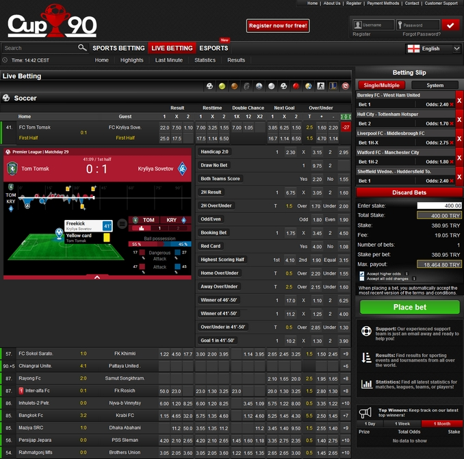 Cup90 Live Betting Screen