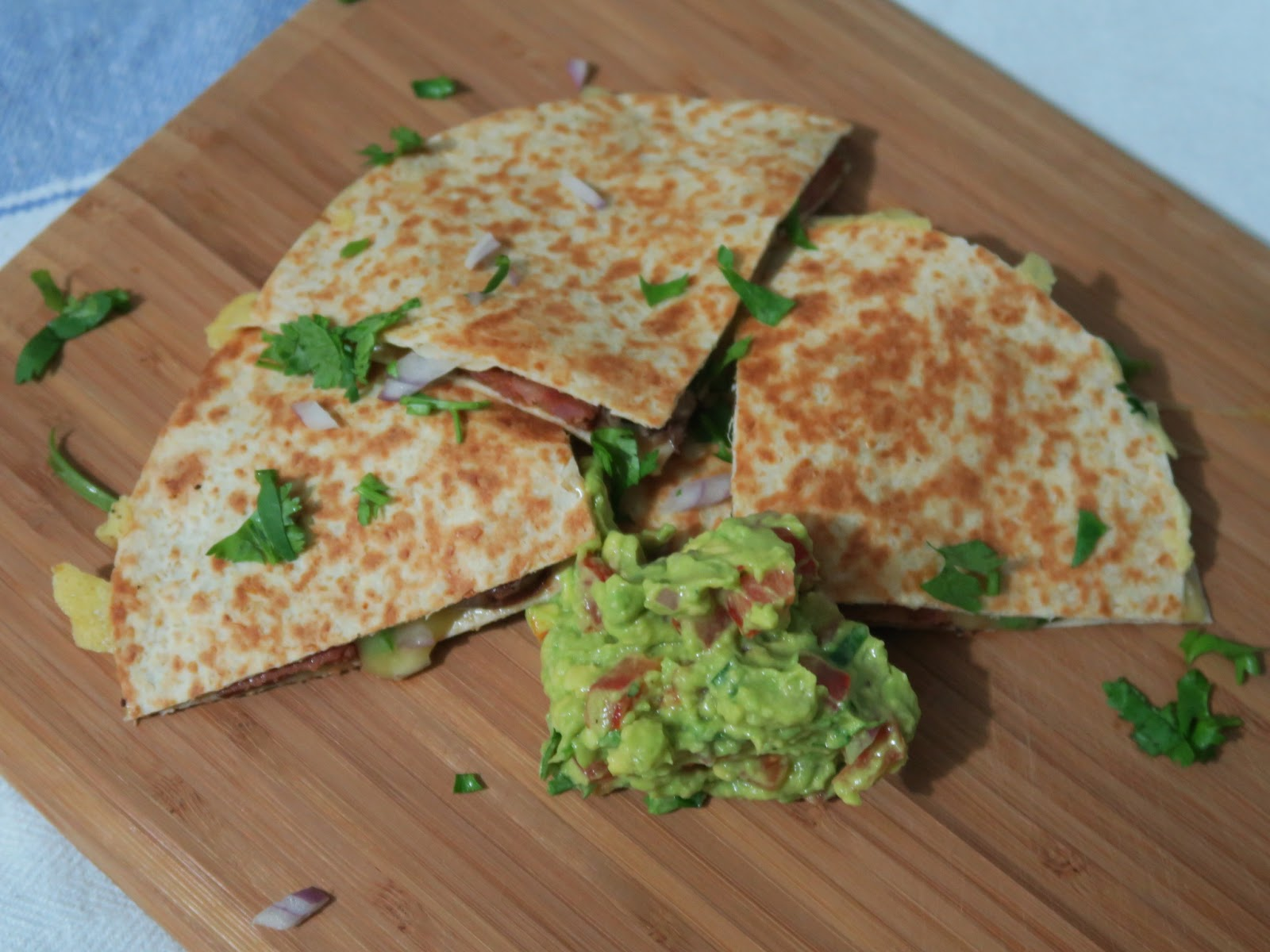 Chipotle and blackbean quesadillas with guacamole