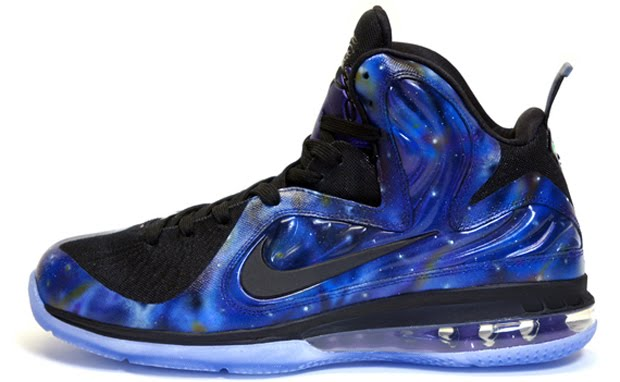 "6aa46cc9c36 The custom relies on the NikeiD LeBron 9 Foamposite base with the ""Galaxy"" graphics  applied."