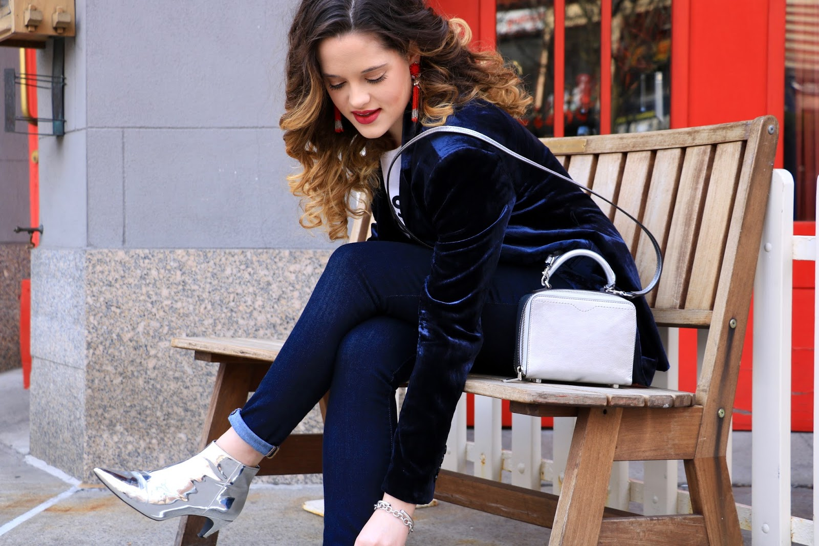 Nyc fashion blogger Kathleen Harper showing how to wear silver booties