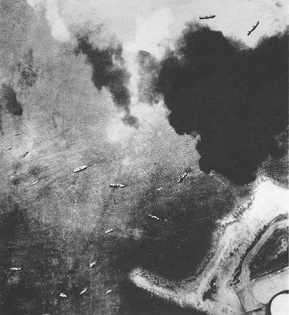 Japanese invasion ships in Truk lagoon, 9 January 1942 worldwartwo.filminspector.com