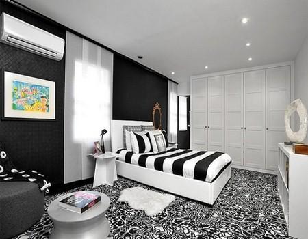 warna cat kamar tidur hitam putih 6