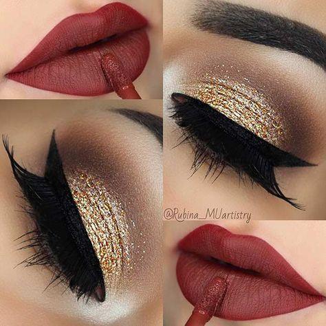 maquiagem natal dourado