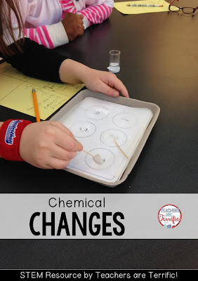 Chemical Changes: Kids are testing powders to see which react to vinegar! Check this blog post for details!