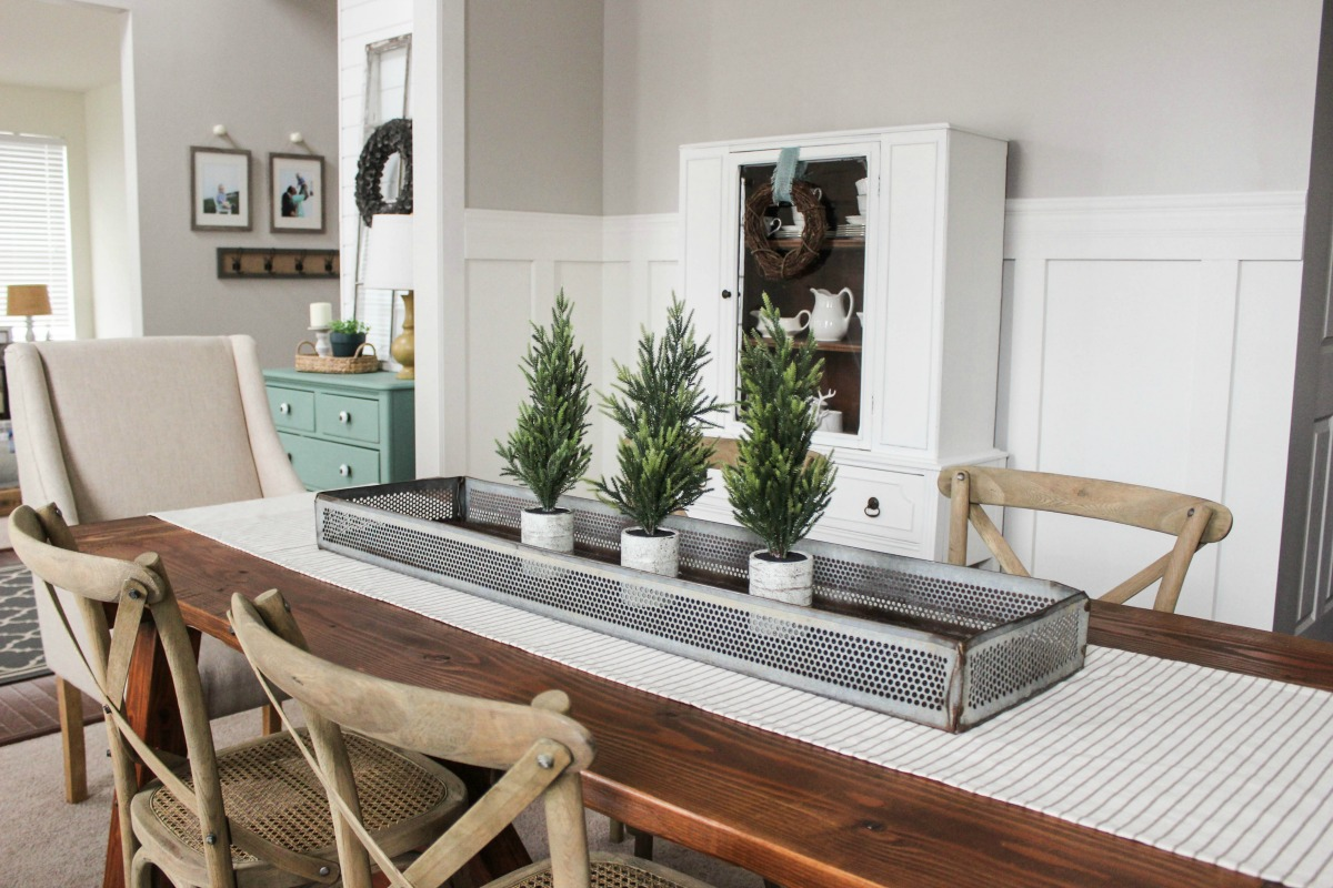 Delightfully Farmhouse Flavored Home Tour - Farmhouse Dining Room Decorating Ideas - Vintage Metal Centerpiece