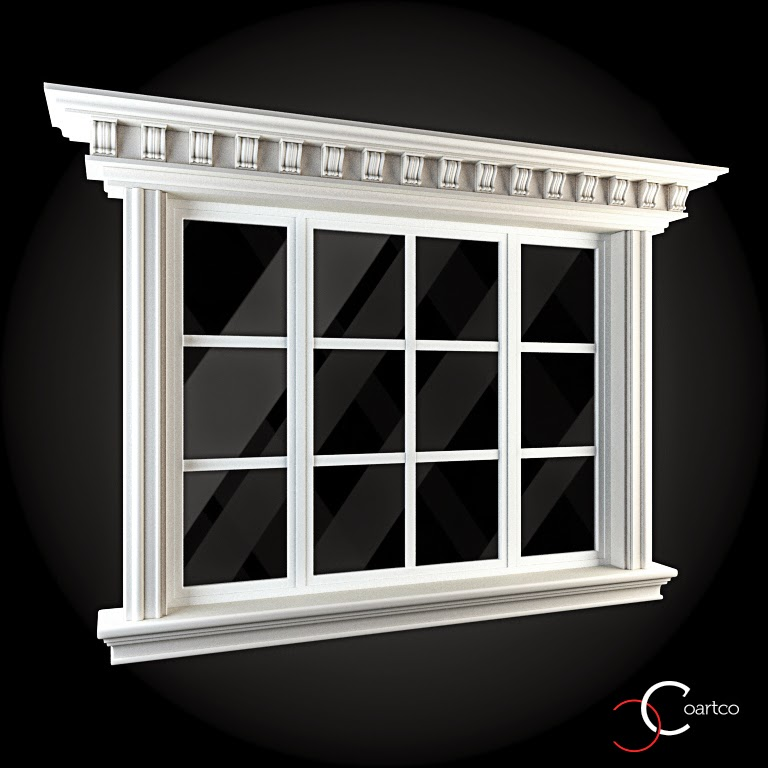 Ornamente Geamuri Exterior, fatade case cu profile decorative polistiren, profile fatada,  Model Cod: WIN-061