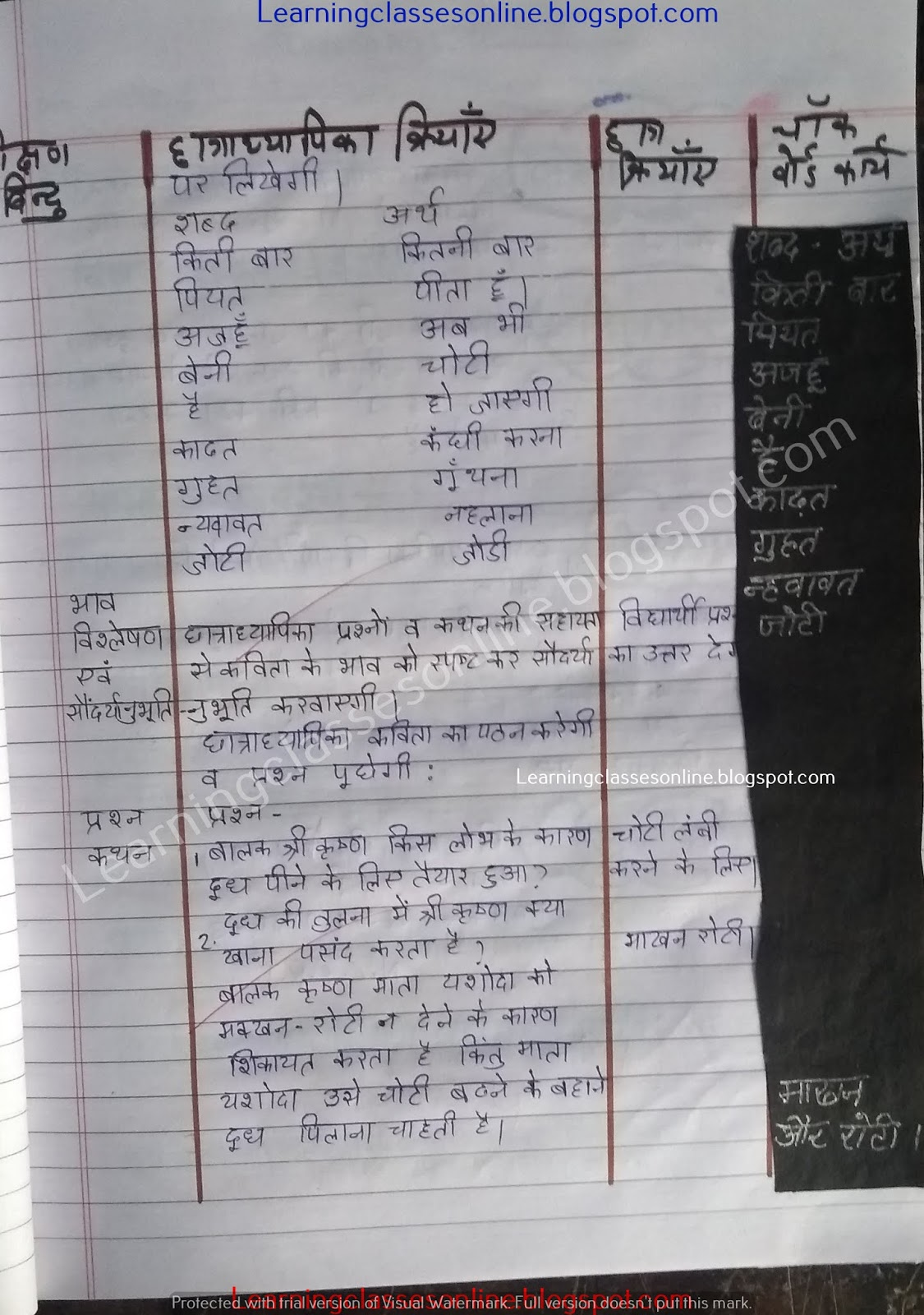 how to make lesson plan in hindi for class 8