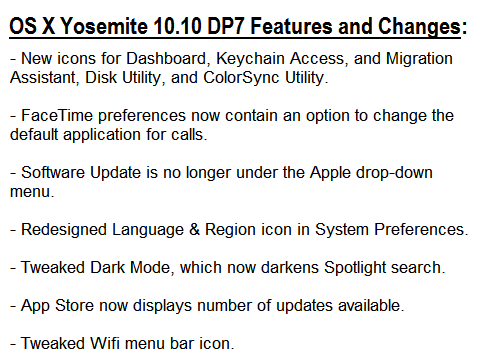 Mac OS X Yosemite 10.10 Developer Preview 7 (14A343f) Features and Changes