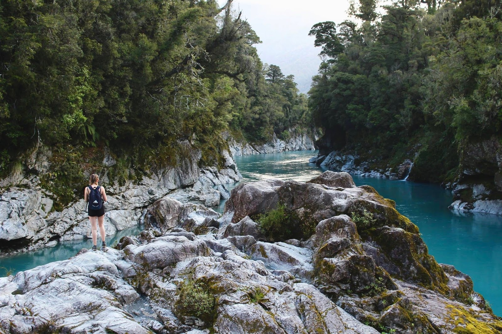 glacier blue water at Hokitika Gorge, best walks in New Zealand