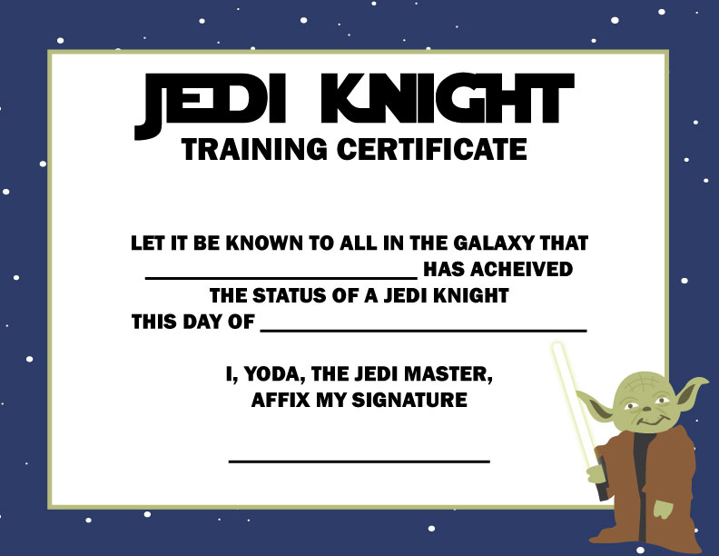 Star wars jedi training certificate template free gallery for Star wars jedi certificate template free