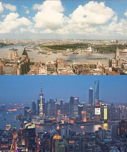 Шанхай 1990 и 2010