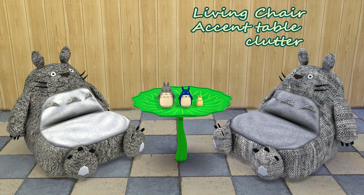 My Sims 4 Blog Totoro Mini Living Set By Kimu412