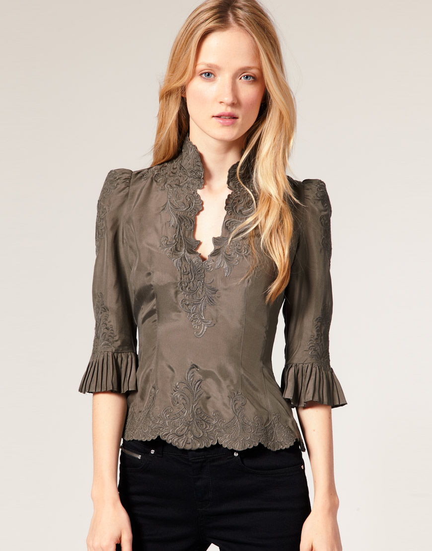 Fashion For Linda Karen Millen Lace Embroidered Silk Blouse