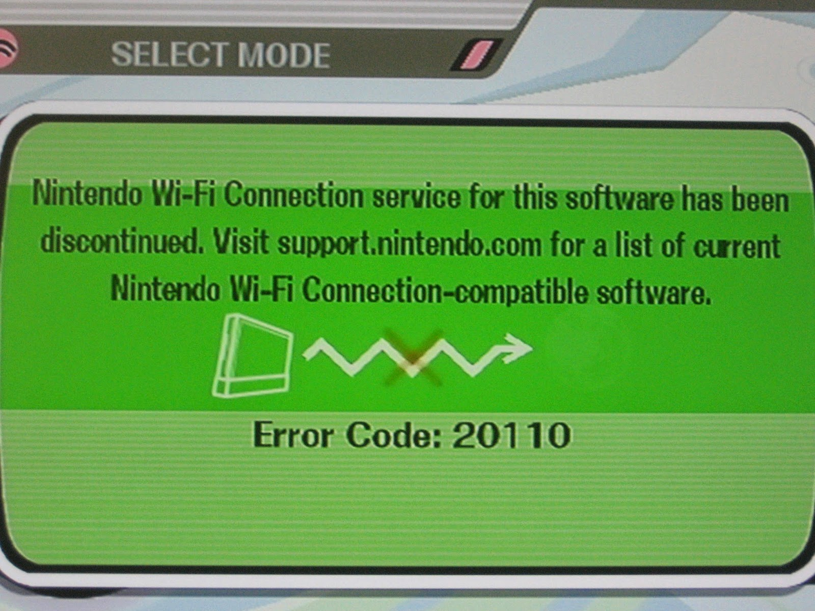 Nintendo Wi-Fi Connection error code 20110 Super Smash Bros. Ultimate