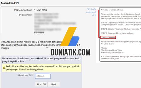 Cara Verifikasi PIN Google Adsense Terbaru 2018