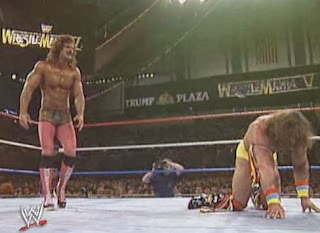 WWF / WWE: Wrestlemania 5 - Ravishing Rick Rude stalks The Ultimate Warrior in their classic Wrestlemania 5 match