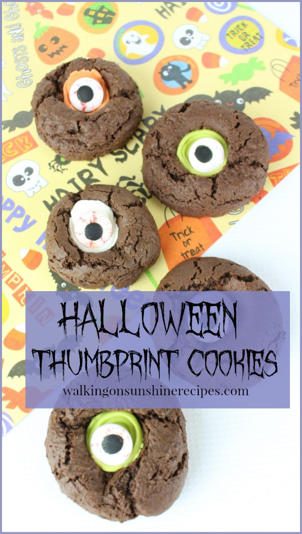 Halloween Thumbprint Cookies from Walking on Sunshine Recipes