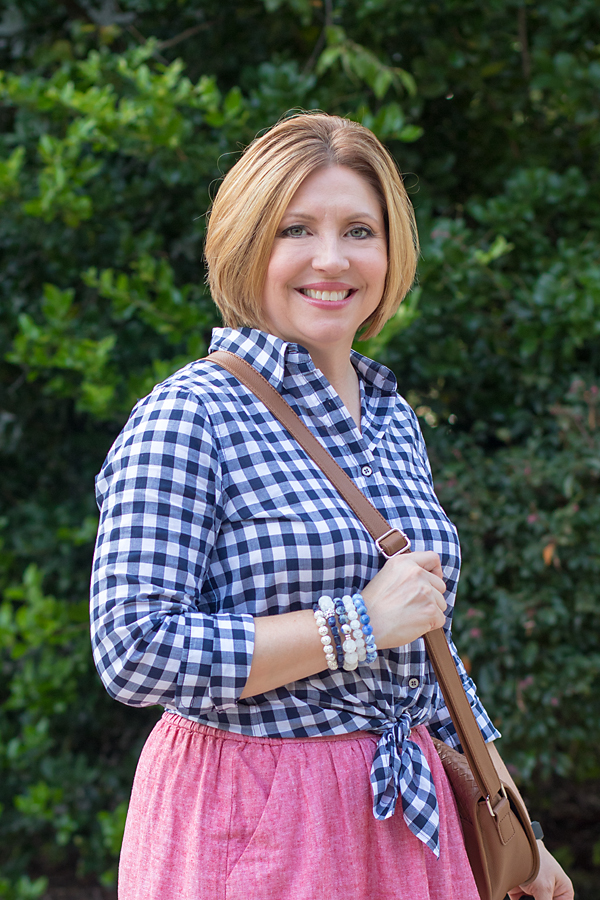 wrap bead bracelet and gingham shirt