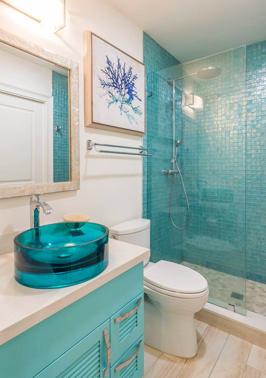 Blue Glass Bathroom Sink Coastal Living