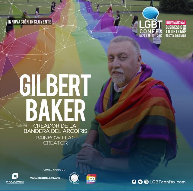 Gilbert Baker, creador de la bandera del arcoíris, símbolo del movimiento LGBT por primera vez en Colombia.
