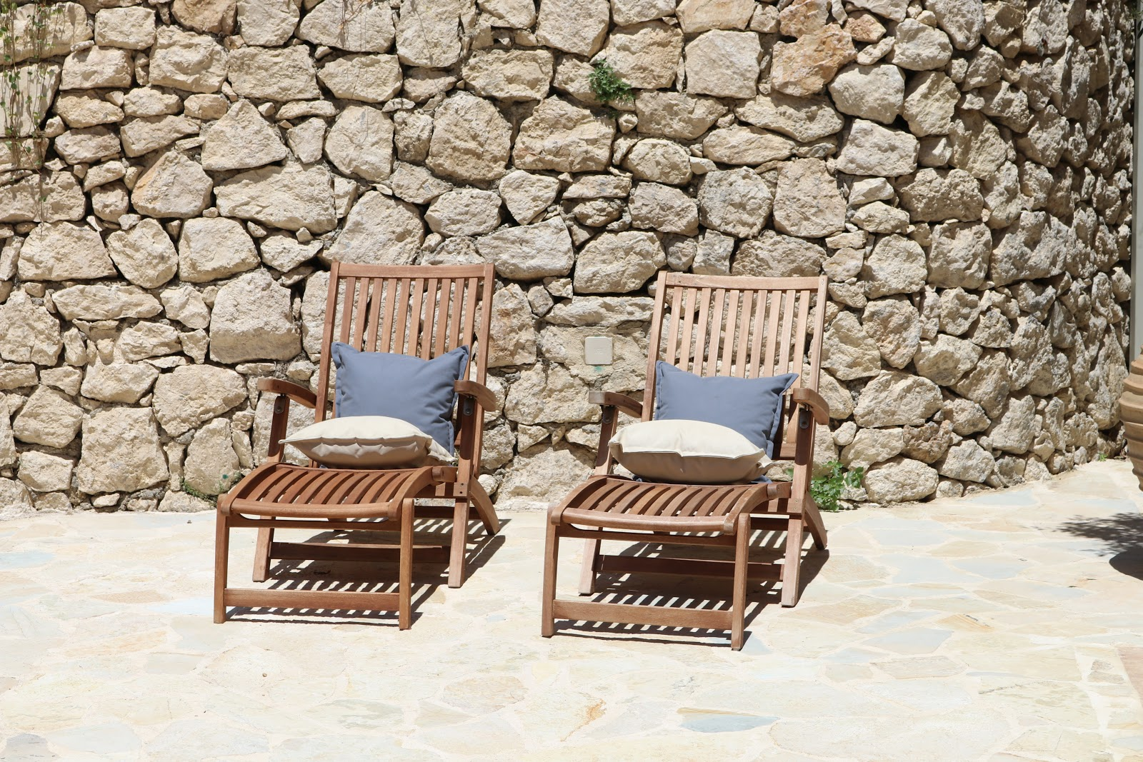 Deck chairs with cushions, F Zeen Resort, Unique Villas, Kefalonia
