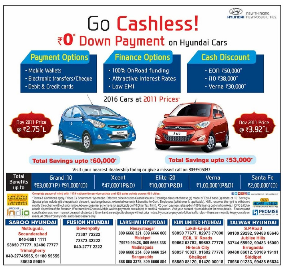 Zero 0 down payment and 100 on road funding on hyundai cars