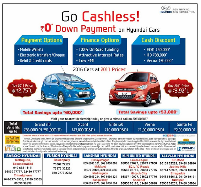 Zero (0) down payment and 100% on road funding on Hyundai cars | November 2016 discount offers