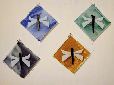 fused glass dragonfly flutterbybutterfly ornament suncatcher bullseye before firing jenken