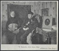 Philippe Demoulin (1809-1912) Arquennes met een dochter naast de foto van Koning Albert I