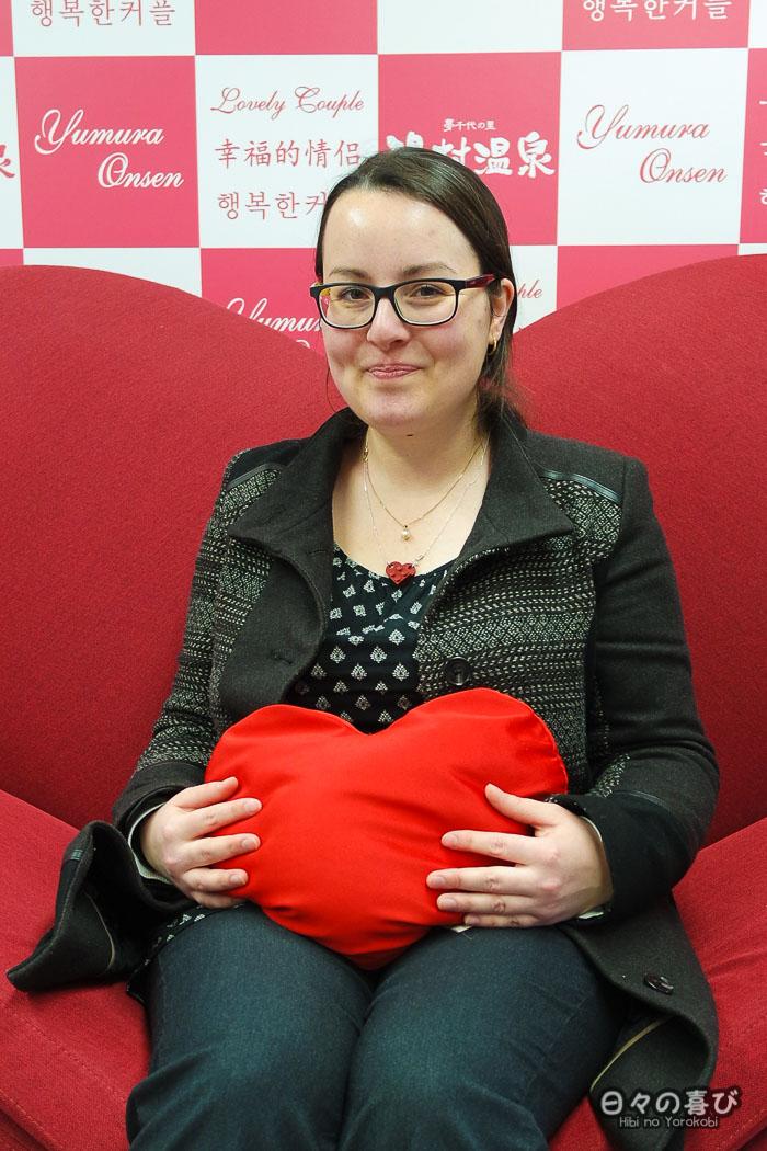portrait avec cousin en forme de coeur à Yumura onsen