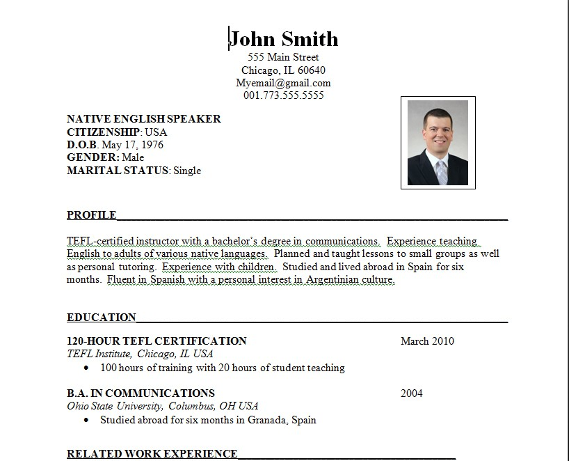 A Resume Format For A Job