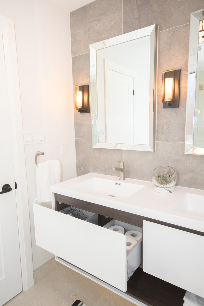 floating vanity in luxury washroom