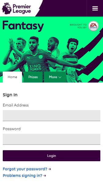 Login Page - Fantasy Premier League