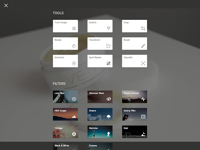 snapseed tools and filters menu screenshot