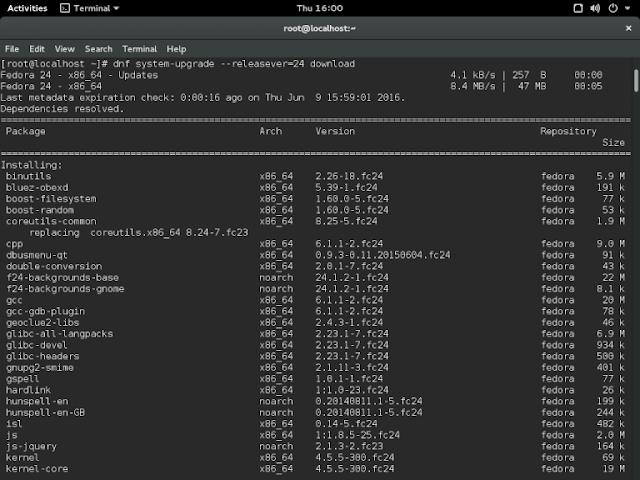 Como atualizar/Upgrade do Fedora 23 para o Fedora 24!