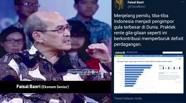 Faisal Basri: Menjelang pemilu, tiba-tiba Indonesia menjadi pengimpor gula terbesar di Dunia