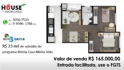 Apartamentos de 02 dormitórios com 46m² de área privativa, sacada com churrasqueira e salão de festas.