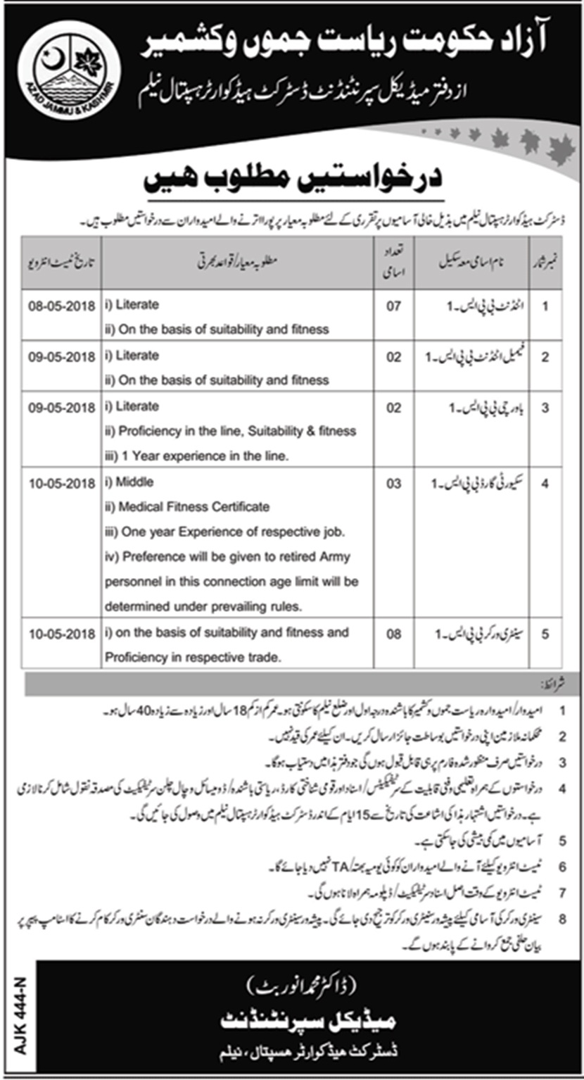 Ajk Headquarter Hospital Latest Jobs in Azad Jammu Kashmir 2018