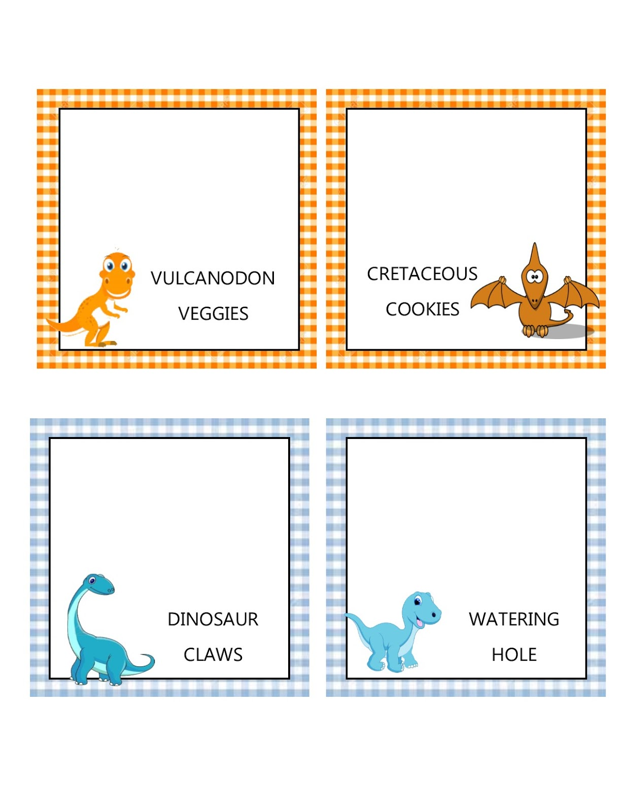 southern blue celebrations free dinosaur food tent labels