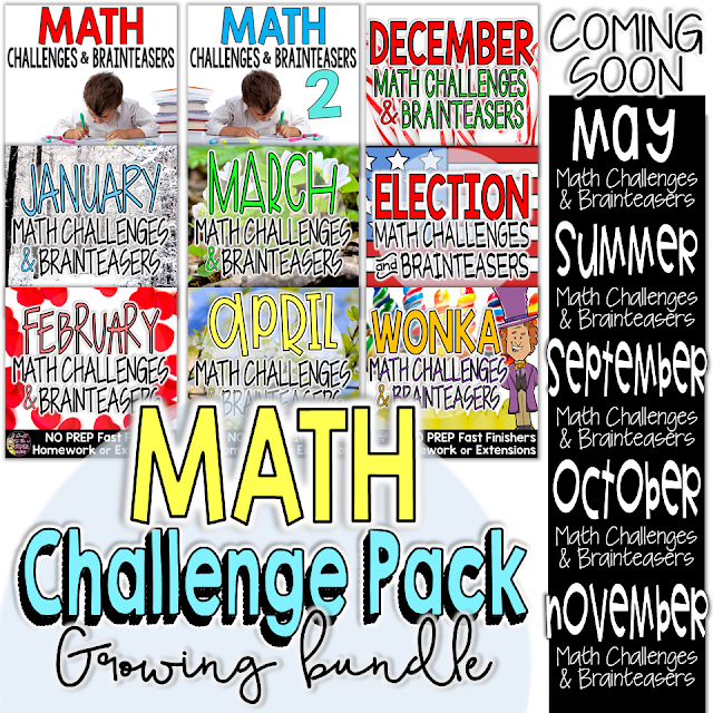 Tons of math printables you can use for homework, fast finishers, math centers, morning work, or enrichment contracts! A growing bundle of math challenges for grades 2-4 includes math challenges for every month of the school year!