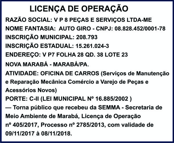 LICENÇA DE OPERAÇÃO -- AUTO GIRO -- MARABÁ/PA