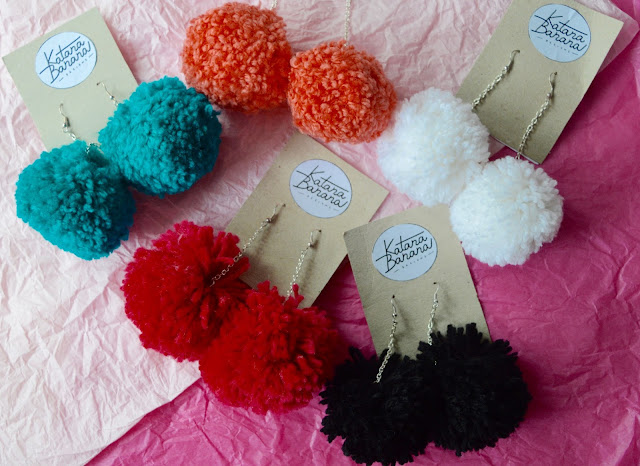 Pompom earrings by Katana Banana