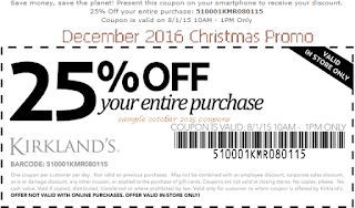 free Kirklands coupons december 2016