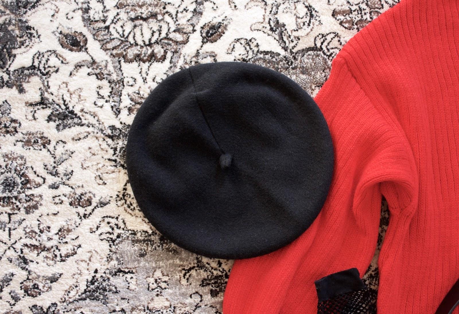 Woolen Blending Warm Pumpkin Painter Cap - Black