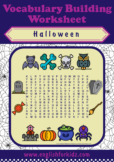 Halloween worksheet - printable resources for English learners