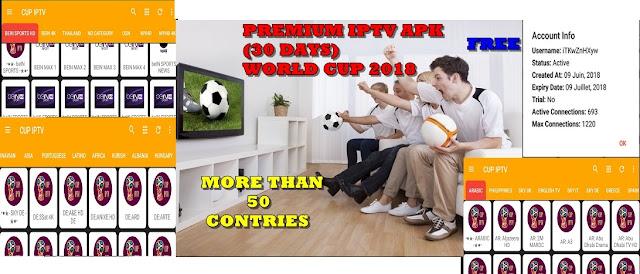 CUP IPTV APK : PREMIUM IPTV + CODE ( 30 days ) WATCH OVER 50